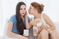 Amis féminins avec des tasses de café bavardant dans le lit Photographie stock