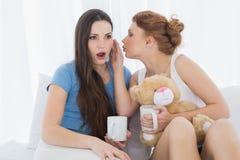 Amis féminins avec des tasses de café bavardant dans le lit Photo stock