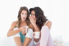 Amis féminins avec des tasses de café bavardant dans le lit Photo libre de droits