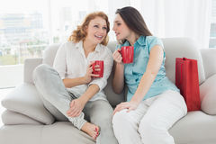 Amis féminins avec des tasses de café conversant à la maison Image stock