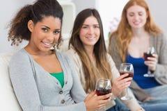 Amis féminins avec des verres de vin à la maison Image libre de droits