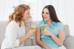 Amis féminins avec des verres de vin à la maison Photos stock