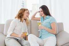 Amis féminins avec des verres de vin à la maison Photos libres de droits