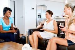 Amis féminins avec le verre de vin Photographie stock