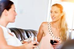 Amis féminins avec le verre de vin Images libres de droits