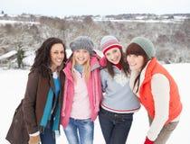 Amis féminins ayant l'amusement dans la neige Image stock