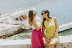 Amis féminins ayant l'amusement sur le bord de mer le jour ensoleillé Photo stock