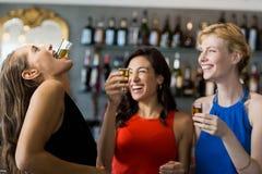 Amis féminins ayant le tir de tequila Photos libres de droits