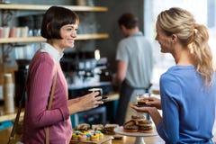 Amis féminins ayant une tasse de café dans le café Image libre de droits