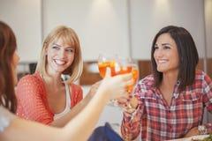 Amis féminins ayant une vie sociale à la maison Image libre de droits