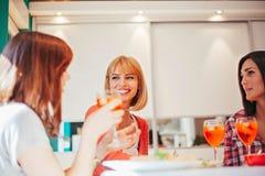 Amis féminins ayant une vie sociale à la maison Photo libre de droits