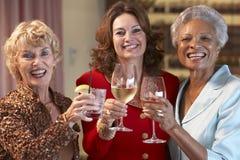 Amis féminins ayant une vie sociale à un bar Image libre de droits