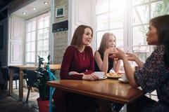 Amis féminins buvant du café ayant une conversation agréable dans un restaurant romantique confortable Image libre de droits