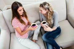 Amis féminins buvant du café tout en se reposant sur le sofa à la maison Images stock