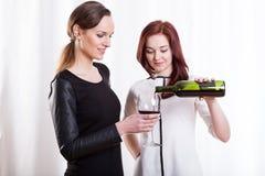 Amis féminins buvant du vin rouge Photographie stock libre de droits