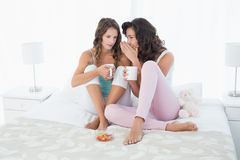 Amis féminins décontractés avec des tasses de café bavardant dans le lit Photos libres de droits