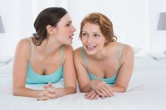 Amis féminins dans des dessus de réservoir bavardant dans le lit Photo libre de droits