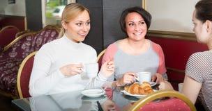 Amis féminins dans le cafétéria Images stock