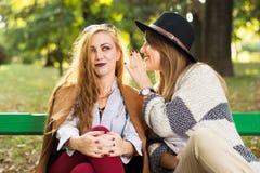 Amis féminins de bavardage en parc Photos libres de droits