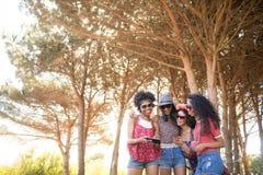 Amis féminins de sourire à l'aide du téléphone portable contre des arbres Photographie stock