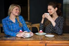 Amis féminins de sourire ayant le café tout en parlant dans le cafétéria Image stock