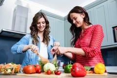 Amis féminins de sourire préparant la salade végétale Photo stock