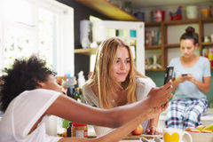 Amis féminins faisant le petit déjeuner tout en vérifiant le téléphone portable Image stock