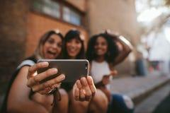 Amis féminins faisant le selfie avec le téléphone portable Images stock