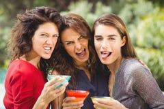 Amis féminins faisant le visage tout en buvant le cocktail Photographie stock libre de droits