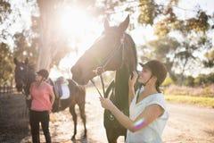 Amis féminins frottant des chevaux à la grange Photos stock