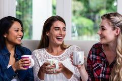 Amis féminins gais avec la tasse de café à la maison Image libre de droits