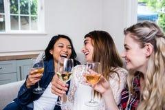 Amis féminins gais buvant du vin Image stock