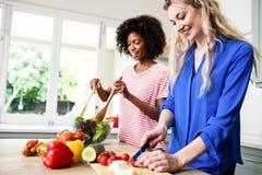 Amis féminins gais préparant la nourriture à la table Image libre de droits