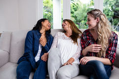 Amis féminins gais s'asseyant sur le sofa Photo stock