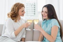 Amis féminins grillant des verres de vin à la maison Photographie stock