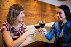 Amis féminins grillant le vin Photographie stock libre de droits