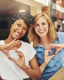 Amis féminins heureux Images libres de droits