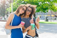 Amis féminins heureux avec le smartphone dehors Photos libres de droits