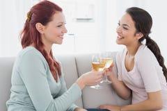 Amis féminins heureux grillant des verres de vin à la maison Photographie stock libre de droits