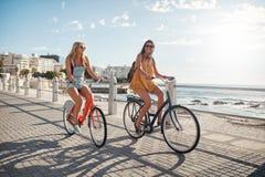 Amis féminins heureux montant des bicyclettes sur la route de bord de la mer Photo libre de droits