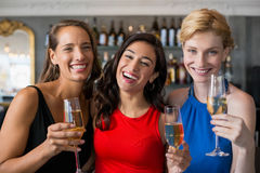 Amis féminins heureux tenant le verre de la cannelure de champagne Image libre de droits