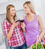 Amis féminins joyeux buvant du vin dans la cuisine Images stock