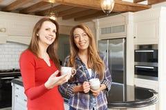 Amis féminins mûrs se tenant dans la cuisine adaptée nouveau par luxe Photo libre de droits