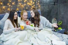 Amis féminins mangeant la crème glacée  Images libres de droits