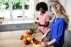 Amis féminins préparant la nourriture à la table Photo stock