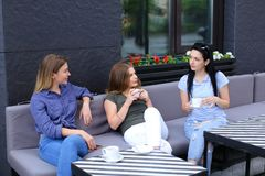 Amis féminins riant et parlant au café Image stock