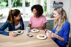 Amis féminins riant tout en prenant le petit déjeuner Images libres de droits