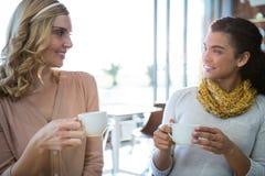Amis féminins s'asseyant ensemble et ayant le café Image libre de droits