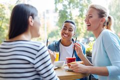 Amis féminins se rappelant de bonnes vieilles journées au déjeuner Images stock