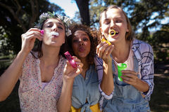 Amis féminins soufflant des bulles en parc Image stock